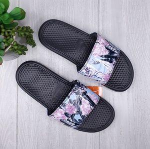 Nike Benassi Swoosh Floral Slide Sandals 10